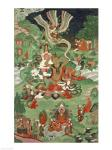 Buddha cutting a tuft of hair, Tibetan temple banner