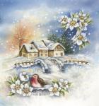Bird Flowers and Winter Village