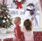 Boy And Girl Looking At Snowman