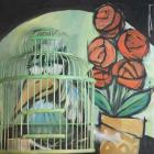 Bird In Cage With Potted Plant