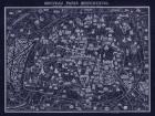 1920 Pocket Map of Paris Blueprint style