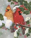 Cardinal Couple With Holly