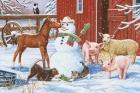 Winter Barnyard Scene