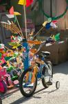 Bicycle Outside Toy Shop, Lesvos, Mytilini, Aegean Islands, Greece