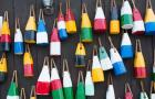 Colorful Buoys Hanging On Wall, Bar Harbor, Maine
