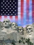 American flag and Mt Rushmore