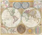 1794 Samuel Dunn Wall Map of the World in Hemispheres