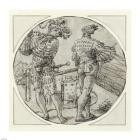 A Flutist and Drummer Before a Moated Castle