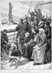 Group Of Arriving Immigrants Huddled On Ship Deck Waving At Statue Of Liberty