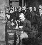 Engraving Of Alexander Graham Bell Making First Long Distance Telephone Call From New York To Chicago In 1892
