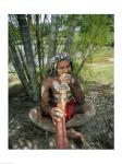 Aborigine playing a didgeridoo, Cairns, Queensland, Australia