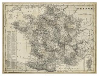 Antique Map of France   Obraz na stenu