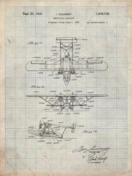 Amphibian Aircraft Patent - Antique Grid Parchment | Obraz na stenu
