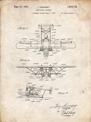 Amphibian Aircraft Patent - Vintage Parchment | Obraz na stenu