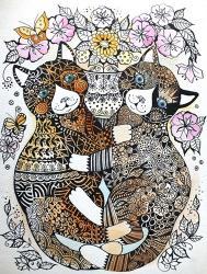 2 Garden Cats | Obraz na stenu