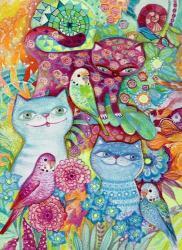 3 Cats + 3 Birds | Obraz na stenu