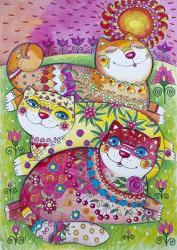 3 Happy Cats | Obraz na stenu
