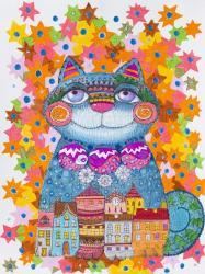 Blue Christmas Cat | Obraz na stenu