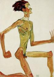 Kneeling Male Nude in Profile Facing Right, 1910   Obraz na stenu