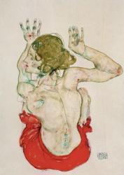 Female Nude Seated On Red Drapery, 1914 | Obraz na stenu