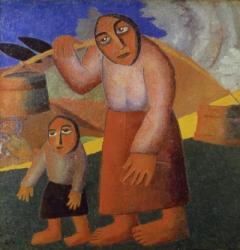 Peasant Woman with Buckets   Obraz na stenu