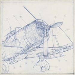 Airplane Mechanical Sketch I | Obraz na stenu