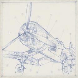 Airplane Mechanical Sketch II | Obraz na stenu