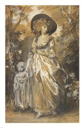 A Lady Walking in a Garden with a Child | Obraz na stenu