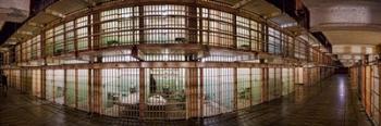 180 degree view of the corridor of a prison, Alcatraz Island, San Francisco, California, USA   Obraz na stenu