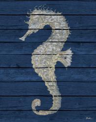 Antique Seahorse on Blue II   Obraz na stenu