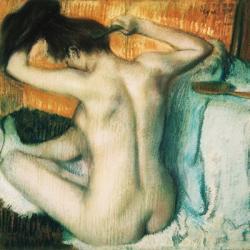 Woman Combing her Hair | Obraz na stenu